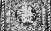 Olinto, mosaico di Bellerofonte (da SALZMANN 1982, https://mosaicodiciottoli.wordpress.com)