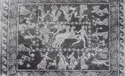 """Olinto, villa """"della Buona Fortuna"""", mosaico di Dioniso (da SALZMANN 1982, https://mosaicodiciottoli.wordpress.com)"""